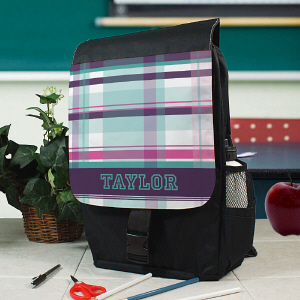 Personalized Purple Plaid Backpack U780262