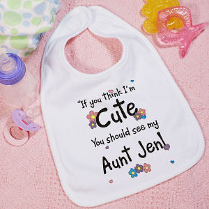 If You Think I am Cute - Flower  Bib