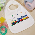 "New Baby ""All Aboard Baby Train"" Personalized Baby Bib"