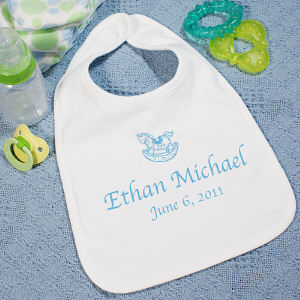 New Baby Boy Personalized Rocking Horse Baby Bib
