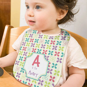 Personalized Name and Initial Baby Girl Bib