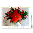 Poinsettia Personalized Holiday Card