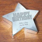 Engraved Happy Birthday Silver Star Keepsake