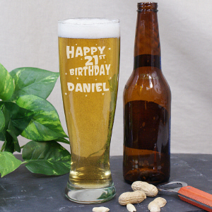 Engraved 21st Birthday Pilsner Glass