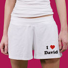 I Love You - Ladies White Cotton Shorts