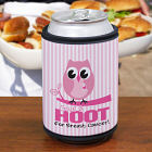 Give a Hoot Breast Cancer Awareness Can Wrap Koozie