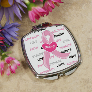Personalized Breast Cancer Ribbon Compact Mirror 436639