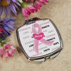 Hope and Love Personalized Breast Cancer Compact Mirror
