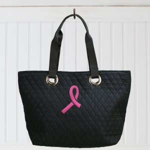 Embroidered Pink Ribbon Quilted Bag