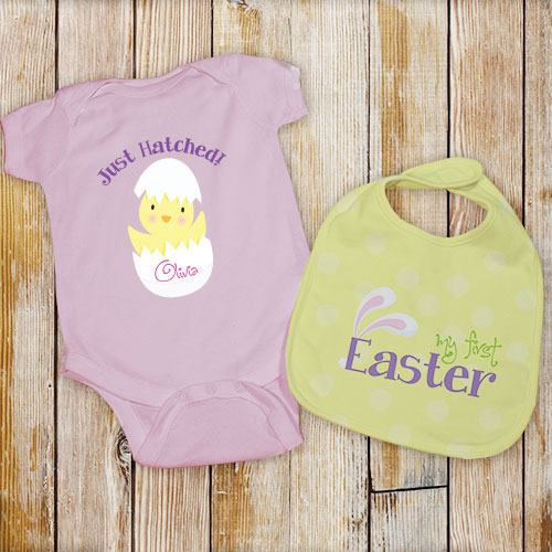 Pink Personalized My First Easter Bib Set | Baby's First Easter Gift