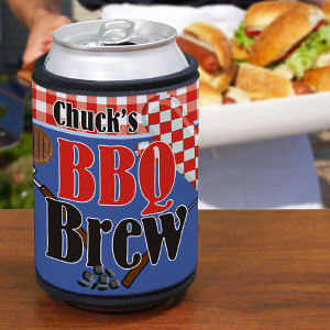 Personalized BBQ Brew Can Wrap Koozie