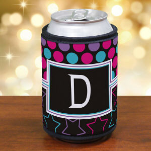 Personalized Dots and Stars Can Koozie