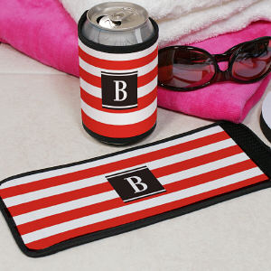 Personalized Stripes Can Koozie