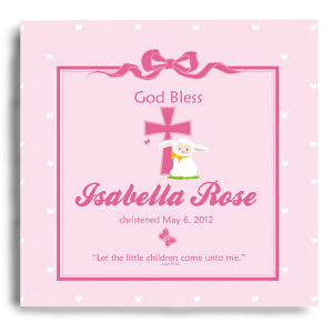 Personalized God Bless Christening Pink Wall Canvas