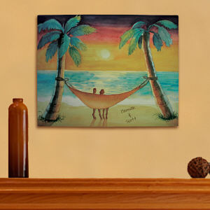 Personalized Beach Sunset Canvas Wall Art