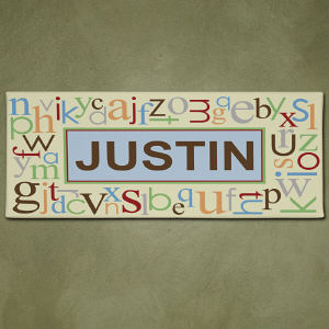 Personalized Blue Alphabet Name Wall Canvas