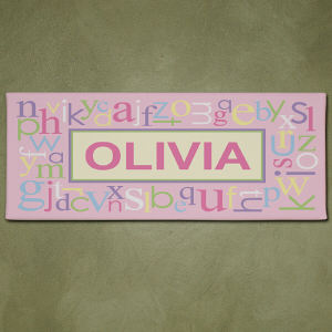 Personalized Pink Alphabet Name Wall Canvas