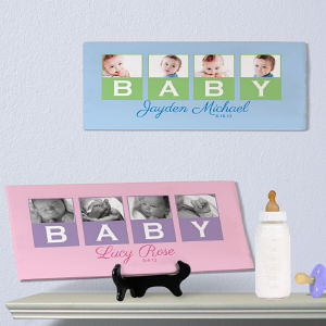 Personalized New Baby Photo Canvas