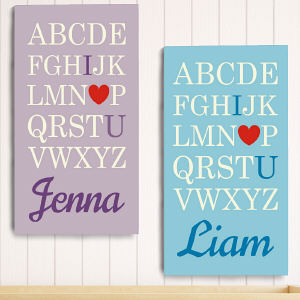 Personalized I Love You Alphabet Wall Canvas | Valentine Gifts For Children