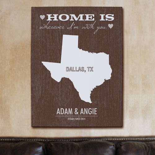 Personalized Home State Wall Canvas 917472X