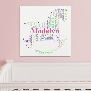 New Baby Girl Rocking Horse Word-Art Canvas