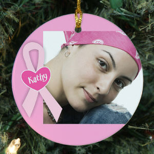 Personalized Ceramic Breast Cancer Photo Ornament