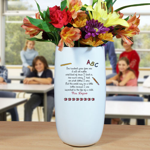 Personalized Ceramic Teacher Vase | Personalized Teacher Gifts