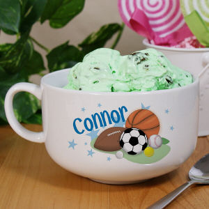 Personalized Ceramic Sports Ice Cream Bowl