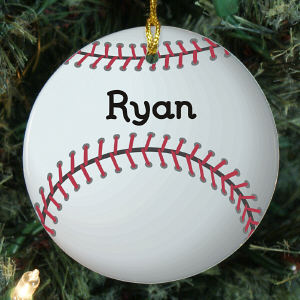 Personalized Baseball Ceramic Christmas Ornament