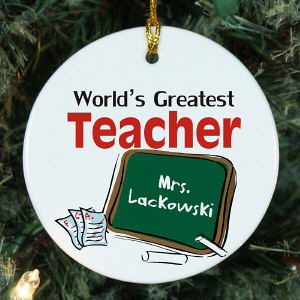 World's Greatest Teacher Personalized Ceramic Ornament