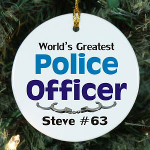World's Greatest Police Officer Personalized Ceramic Ornament