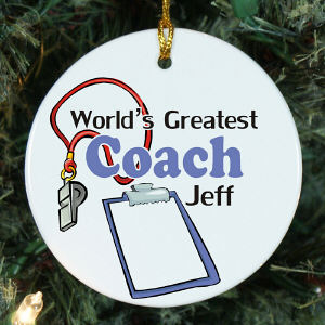 World's Greatest Coach Personalized Ceramic Ornament