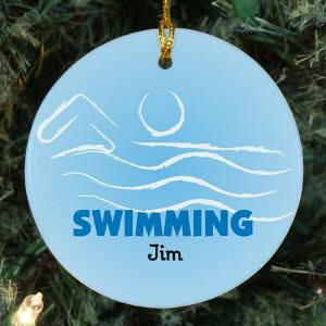 Personalized Ceramic Swimming Ornament