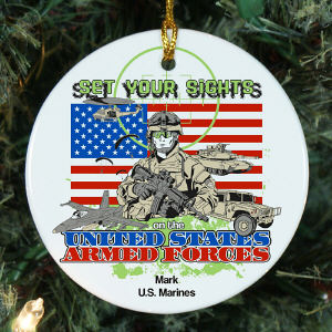 Personalized Ceramic Armed Forces Ornament