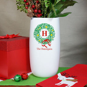 Personalized Christmas Wreath Vase