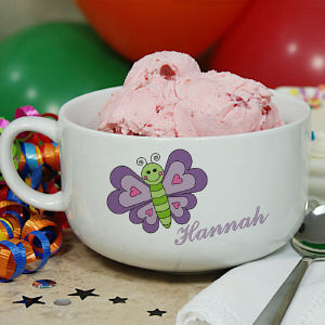 Personalized Ceramic Butterfly Ice Cream Bowl