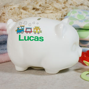 Personalized Choo Choo Train Piggy Bank U394519