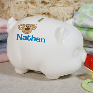 Personalized Ceramic Puppy Piggy Bank