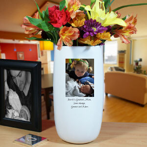 Ceramic Photo Vase with Custom Caption