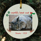 Personalized Ceramic Cat Photo Ornament U442710