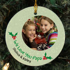 Personalized Ceramic Holly Photo Ornament
