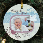 Personalized Ceramic Forever In Our Hearts Memorial Photo Ornament