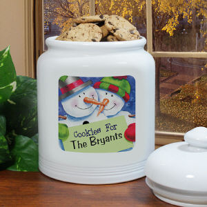 Personalized Snowman Cookie Jar