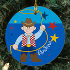 Personalized Ceramic Cowboy Ornament