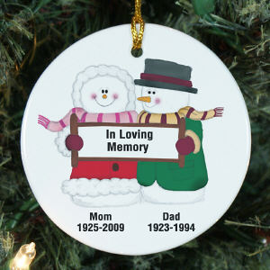 Personalized Ceramic In Loving Memory Snow Couple Memorial Ornament