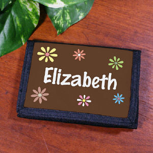 Personalized Flower Power Velcro Wallet