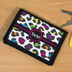 Personalized Multicolored Leopard Print Wallet