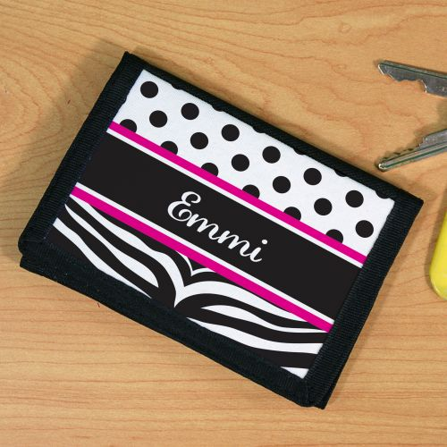 Personalized Zebra Print Wallet U59431