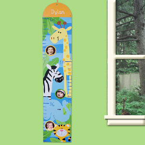 Personalized Zoo Animals Blue Growth Chart