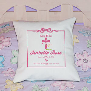 God Bless Christening Personalized Throw Pillow